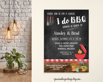 I do BBQ Couples Shower, Jack and Jill Wedding Shower, Chalkboard, Barbecue Shower, Backyard Party Invite, Printable, Digital, Invitation