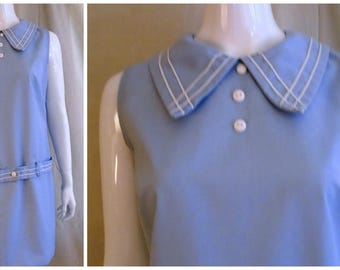 Vintage 1960s Scooter Dress Blue and White Mod Dropped Waist Hip Belt Medium 39 x 37 x 40