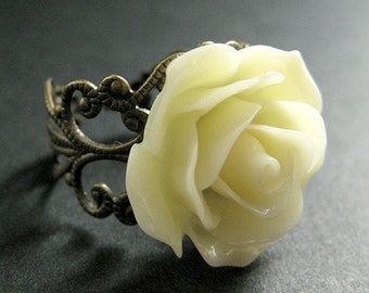 Ivory Rose Ring. Ivory Flower Ring. Adjustable Ring. Filigree Ring. Flower Jewelry. Handmade Jewelry.
