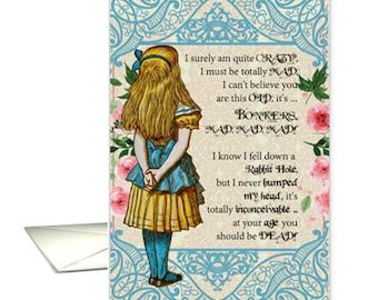 Alice, Unique funny Alice in wonderland birthday card, over the hill old, funny Alice birthday card