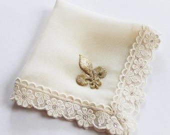 Fleur de Lis Wedding, New Orleans Wedding, Second Line Handkerchief, Gold Fleur de Lis, Hanky, Silk Handkerchief, Ivory Handkerchief, Bride