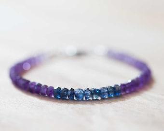 Amethyst Bracelet with Kyanite, February Birthstone Bracelet, Shaded Amethyst Jewelry, Kyanite Jewelry, Blue Purple Beaded Gemstone Bracelet