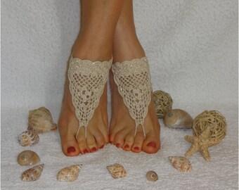 Crochet  barefoot sandals Ivory barefoot sandals Footless sandles Cream sandals Golden sandals