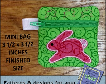 ITH Running Bunny Mini Zipper Bag - Fully Lined - In The Hoop Zipper Bag - Bunny Zipper Bag - Embroidery Design - 4x4 Hoop