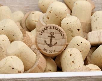 Personalized Wine Stoppers, Bulk Wedding Favors, Nautical Wedding Favor, Wine Wedding Gift, Wine Corks, Anchor Wedding Favor, Custom Favors