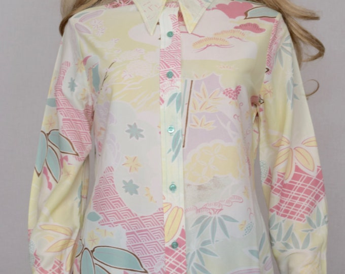 Nos Vintage 1970's Women's  Bobbie Brooks Asian Print Patterned HiPPiE BoHo DisCo Shirt size L  - New With Tags - Deadstock