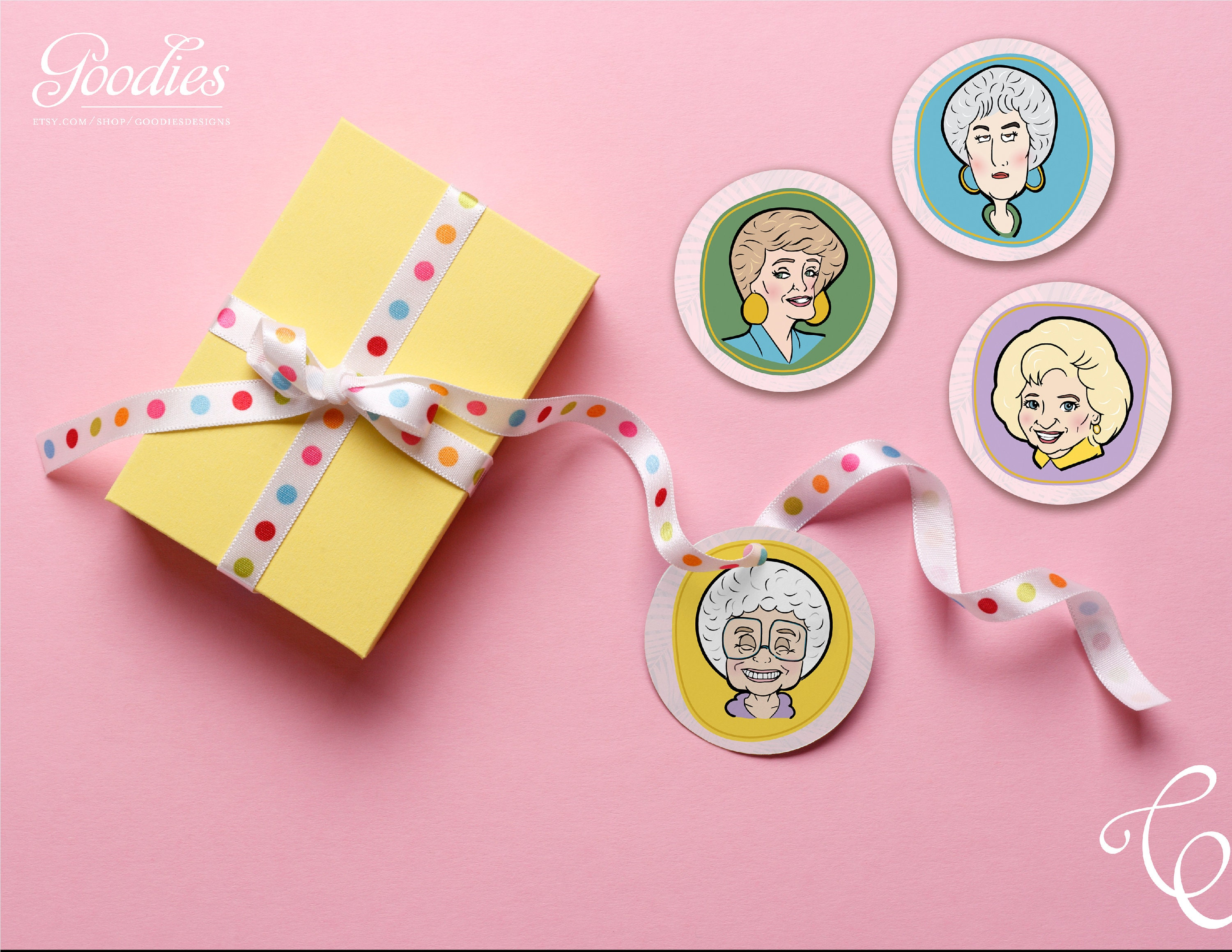 Golden Girls Favor Tag Cupcake Topper Labels Party Gift