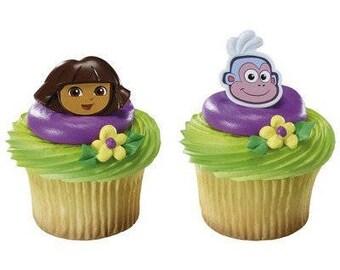 Dora the Explorer cupcake rings (24) party favor cake topper 2 dozen
