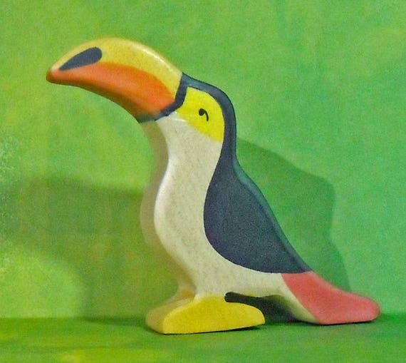 "Miniature Painted wood ""flat""  Toy Toco Toucan Figure"