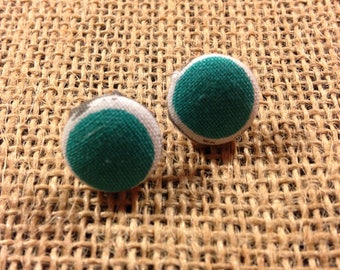 Teal Circle - Fabric Button Earrings