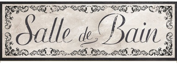 Salle De Bain Sign French Victorian Bath French Wall Sign