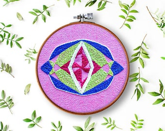 hand embroidery pattern, Kristall no 1 mandala, modern hand embroidery, contemporary embroidery