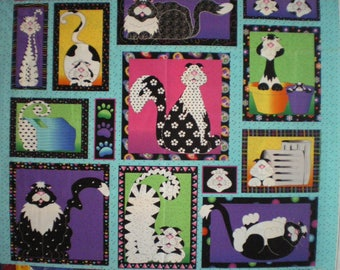 Panel quilting, patchwork, colorful cats, 100% cotton fabric.