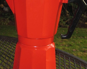Red Enamel Italian Espresso Maker, Stovetop Coffee Pot
