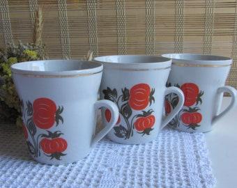 Soviet vintage cups Vintage cups Set of 3 tea cups Soviet porcelain cups Kitchen decor Vintage dishes