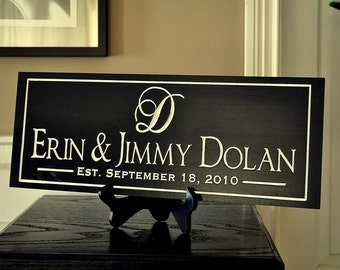 Personalized Family Name Sign Plaque Established Carved Engraved 7x20 FI