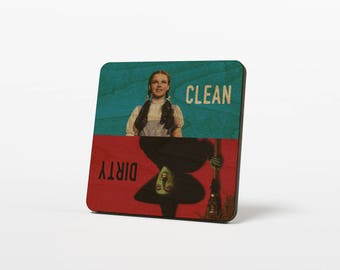 Wizard of Oz Clean Dirty Dishwasher Magnet  Dorothy Wicked Witch Wooden Notifier Sign