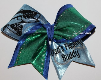 Cheerleading Dad's Fishing Buddy Hairbow by Funbows