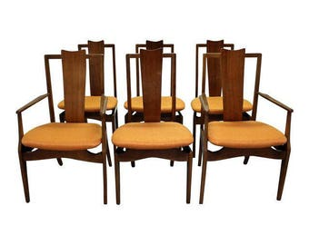 Mid-Century Dining Chairs Danish Modern Kagan Style Floating Seat Dining Chairs-Set of 6