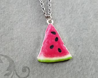 Watermelon Necklace Watermelon Jewelry Watermelon Slice Charm Necklace Pendant Necklace Fruit Necklace Food Jewelry Fruit Jewelry Gift