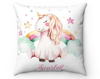 Personalised Unicorn Cushion, Unicorn, Cushion, Personalise Cushion, Unicorn Pillow, Unicorn Gift, Personalised Gift, Rainbow Unicorn