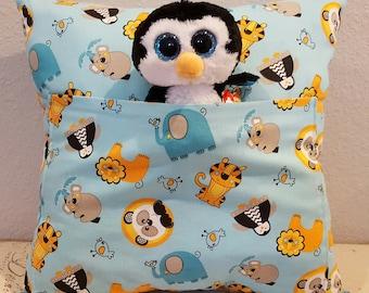 Animal Companion Pocket Pillow with Penguin Plushie