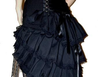 GOTHIC TIERED BUSTLE skirt, steampunk corset skirt, burlesque skirt, lace bustle, short burlesque skirt, gothic corset skirt, free garter