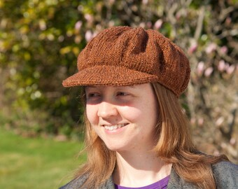 Pattern: Knitted baker boy hat with peak