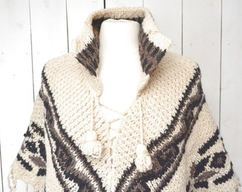 70s Wool Poncho Fair Isle Knit Fringe Hippie Boho Vintage Winter Sweater Poncho Gray Cream Joaquin Torres One Size Fits Most