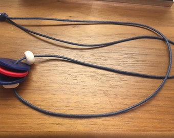 Polymer clay red and navy corded necklace