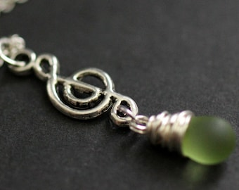 Frosted Green Teardrop Necklace. Musical Note Necklace. Music Necklace. Treble Clef Necklace in Silver. Handmade Jewelry.