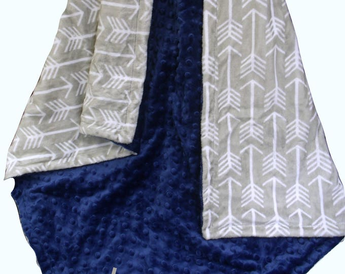 Personalized Navy and White Arrow Print Minky Blanket, Silver Gray dot and Navy Fletch Blanket, Embroidered Newborn Gift