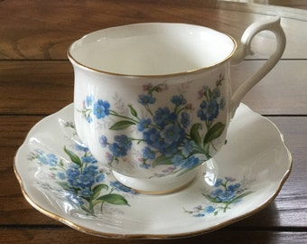 Vintage Royal Albert Fine English Bone China Cup and Saucer in the Forget-me-Not Pattern