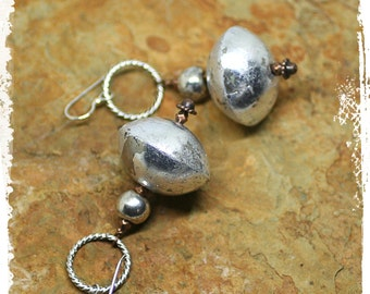 Gypsy earrings silver, African silver saucer earrings, Silver hoop earrings, Altered metal earrings