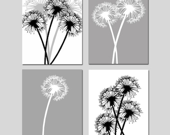 Dandelion Quad - Set of Four Coordinating 8x10 Floral Prints - CHOOSE YOUR COLORS - Shown in Black, White, Gray, and More