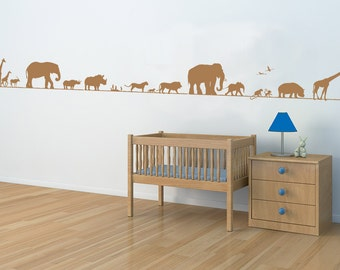 March of the Savanna Animals Wall Decal | elephant wall decal kids safari wall decals safari nursery noahs ark elephant lion giraffe