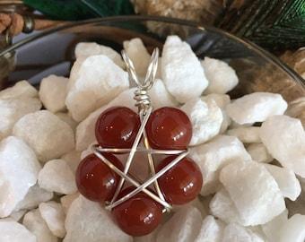Carnelian Pentacle Necklace