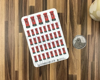 UK Letterbox Stickers; Hand Drawn Stickers; Post Box; Post Orders; Happy Mail; Planner Stickers; Erin Condren Sized; Happy Planner