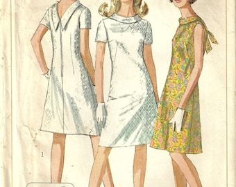 Simplicity 7129 Vintage 60's Mod Twiggy V-Back Tie Collar Dress Sewing Pattern Junior Size 9 Simple to Sew - Easy