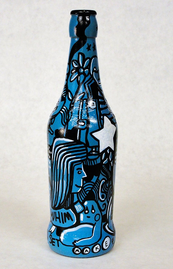 Bottle NO. 89 - Original Mixed Media illustration on Beer Bottle