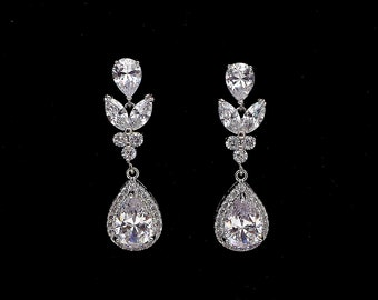 Wedding jewelry bridal party prom christmas gift multi shape cluster AAA cubic zirconia post drop earrings halo teardrop marquise rhodium