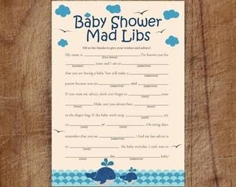 Whale Baby Shower Mad Libs, Nautical Baby Shower Mad Libs Game, Printable Boy Whale Advice Cards Mad Libs Game, Whale Baby Shower Printable