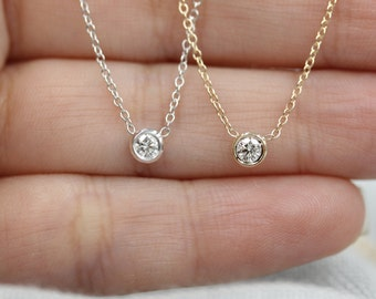 Solid 14k gold diamond necklace solitaire necklace classic dainty necklace