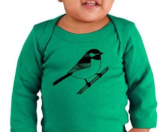 Chickadee Baby Clothes, Long Sleeved Baby Bodysuit, Cotton Baby Onepiece, Black Capped Chickadee Bird Graphic Tee New Baby Gift Wildlife Tee