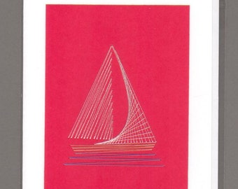 Sailboat Hand Stitched Card