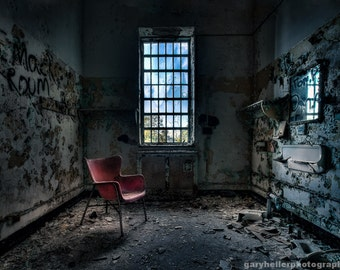Red Chair, Art Deco and Decaying Old building, Abandoned Asylum, Urban Exploration, Beautiful and Mysterious, Fine Art Photography Print