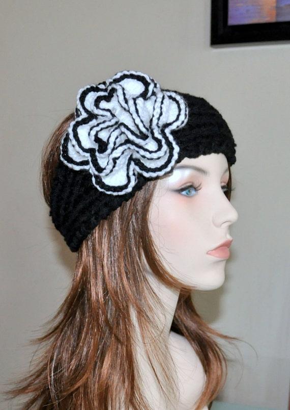 Ähnliche Artikel wie Ohr wärmer Stirnband Blume Kopftuch schwarz ...