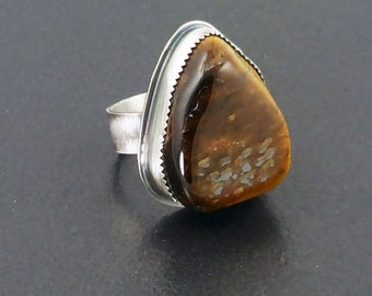Tiger Eye Ring, boho, bohemian, brown silver, size 7.5 ring, sterling silver, michele grady, statement ring, rock ring, tiger eye