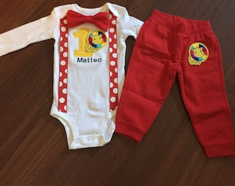 Circus Embroidered First birthday, Boys birthday outfit, Baby boy first birthday, Circus theme, cirus lion, circus animals