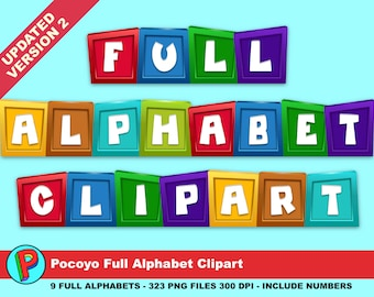 Pocoyo - Alphabet Clipart - 327 png files 300 dpi - Updated August 2017 - 9 Colors 9 Full Alphabets - Pocoyo Party